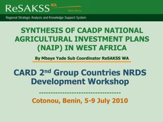 CARD 2 nd  Group Countries NRDS Development Workshop  -----------------------------------
