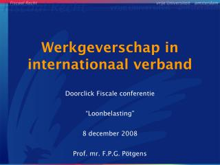 Werkgeverschap in  internationaal verband