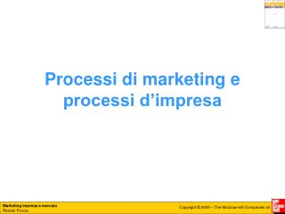 Processi di marketing e processi d'impresa