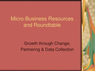 Micro-Business Resources  and Roundtable
