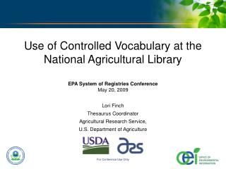 Use of Controlled Vocabulary at the  National Agricultural Library