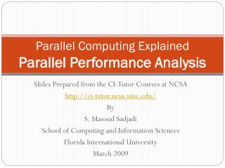 Parallel Computing Explained Parallel Performance Analysis