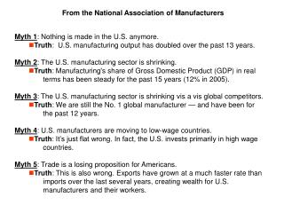 From the National Association of Manufacturers