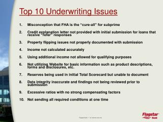 Top 10 Underwriting Issues