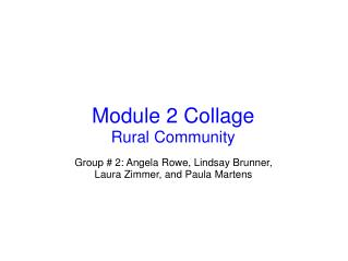 Module 2 Collage Rural Community