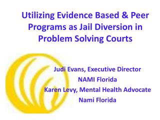Utilizing Evidence Based & Peer Programs as Jail Diversion in Problem Solving Courts