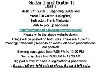 Guitar I and Guitar II