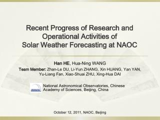 Recent Progress of Research and Operational Activities of Solar Weather Forecasting at NAOC