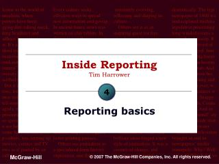 Inside Reporting Tim Harrower