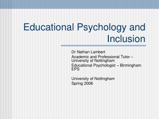 Educational Psychology and Inclusion