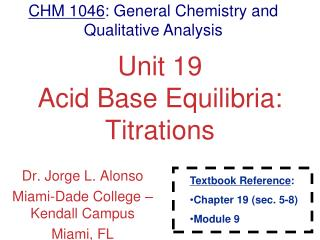 Unit 19 Acid Base Equilibria: Titrations