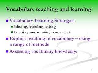 Vocabulary teaching and learning
