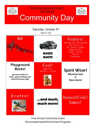 The Early Learning Center's 16 th  Annual  Community Day