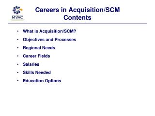 Careers in Acquisition/SCM Contents