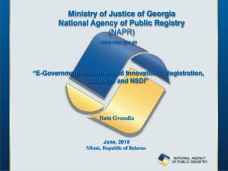 """E-Government - Reforms and Innovations: Registration, Cadastre and NSDI"""