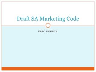 Draft SA Marketing Code
