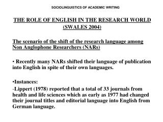 SOCIOLINGUISTICS OF ACADEMIC WRITING