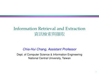 Information Retrieval and Extraction 資訊檢索與擷取
