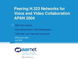 Peering H.323 Networks for Voice and Video Collaboration APAN 2004
