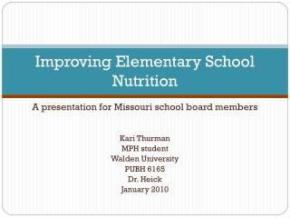 Improving Elementary School Nutrition