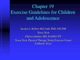 Chapter 19 Exercise Guidelines for Children and Adolescence