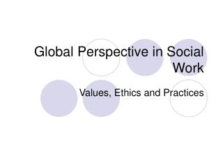 Global Perspective in Social Work