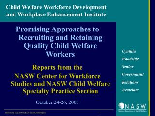 Child Welfare Workforce Development and Workplace Enhancement Institute