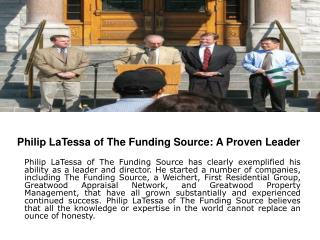Philip LaTessa of The Funding Source: A Proven Leader