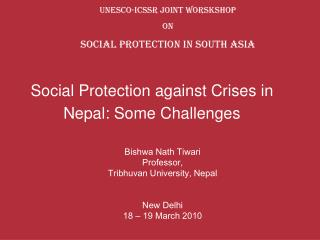 Social Protection against Crises in Nepal: Some Challenges