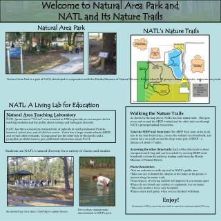 Welcome to Natural Area Park and NATL and Its Nature Trails