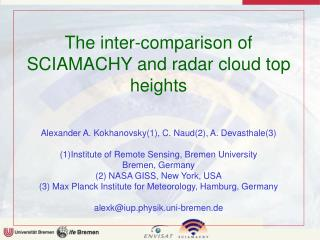 The inter-comparison of SCIAMACHY and radar cloud top heights