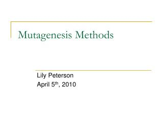 Mutagenesis Methods