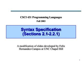 Syntax Specification (Sections 2.1-2.2.1)