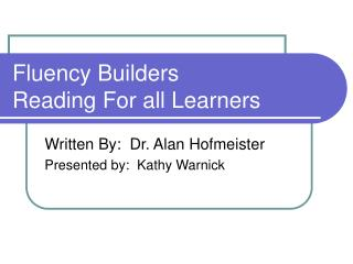 Fluency Builders Reading For all Learners