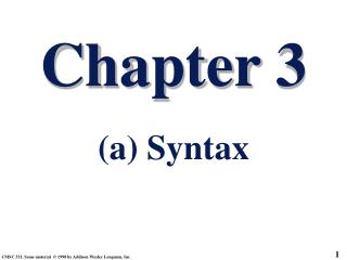 Chapter 3 (a) Syntax