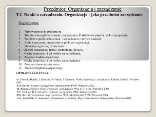 Przedmiot: Organizacja i zarządzanie