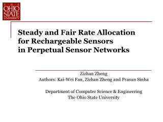 Steady and Fair Rate Allocation  for Rechargeable Sensors in Perpetual Sensor Networks