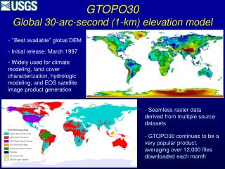 GTOPO30 Global 30-arc-second (1-km) elevation model
