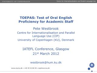TOEPAS: Test of Oral English Proficiency for Academic Staff