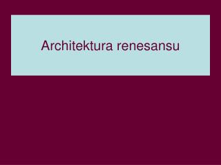Architektura renesansu