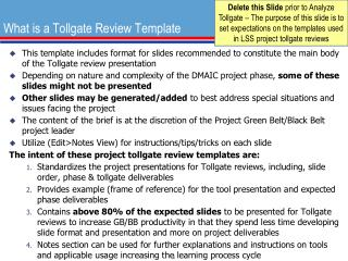 What is a Tollgate Review Template