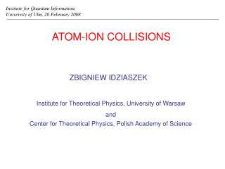 ATOM-ION COLLISIONS