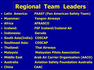 Regional  Team  Leaders