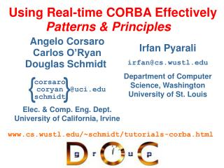 Using Real-time CORBA Effectively Patterns & Principles