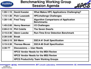 Benchmarking Working Group Session Agenda
