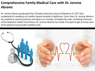Comprehensive Family Medical Care with Dr. Jerome Abrams
