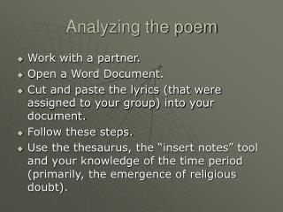 Analyzing the poem