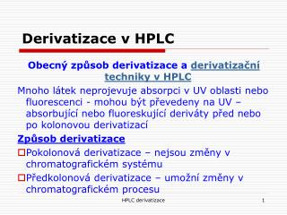 Derivatizace v HPLC