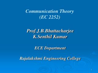Communication Theory   (EC 2252)