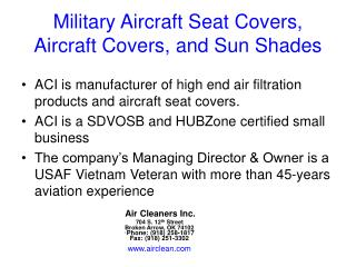 Military Aircraft Seat Covers, Aircraft Covers, and Sun Shades